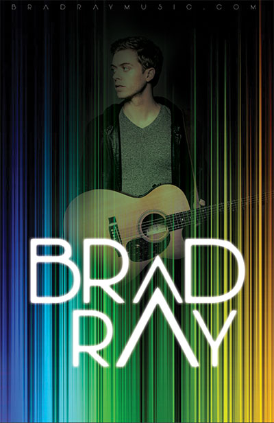 Tour poster / Brad with guitar and colored lights